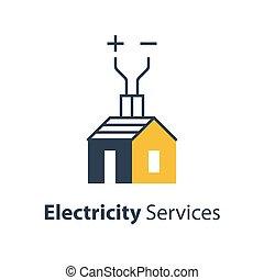 reparación, alambre, electricidad, casa, alto voltaje, ...
