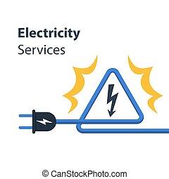 reparación, alambres, electricidad, alto, señal, voltaje, ...