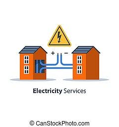 reparación, alambres, electricidad, casa, señal, alto, ...