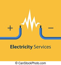 reparación, alambres, electricidad, dos, descubierto, ...