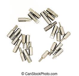 reparación, auriculares, slotted, boquilla, metal, ...