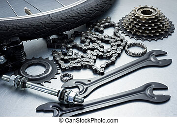 reparación, bicicleta