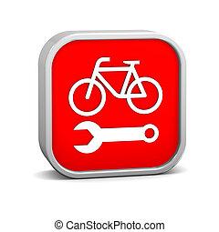 reparación, bicicleta, señal