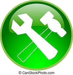 reparación, botón, verde