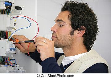 reparación, caja, fusible, electricista, entrenado