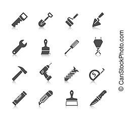 reparación casera, herramientas, iconos