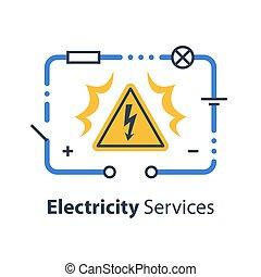 reparación, circuito, electricidad, alto, señal, voltaje, ...