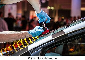 reparación, coche, parabrisas