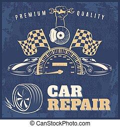 reparación coche, retro, cartel