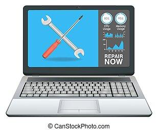 reparación, computador portatil, computadora,  App