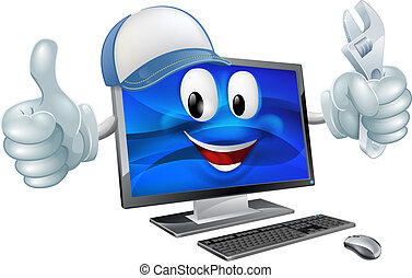 reparación, computadora, carácter, caricatura