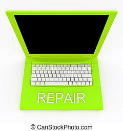 reparación, computadora de computadora portátil, palabra, él