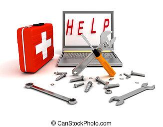 reparación, computadora, diagnósticos