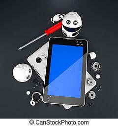 reparación, computadora,  robot, tableta