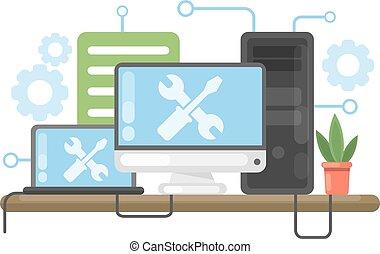 reparación, concept., computadora