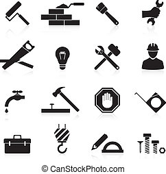 reparación, construcción, iconos