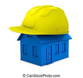 reparación, construcción, o, casa
