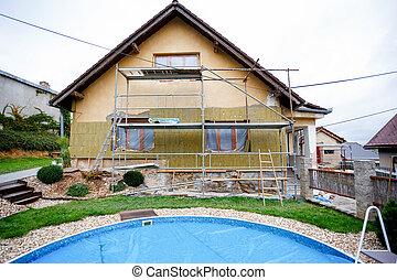 reparación, construcción, rural, o, casa