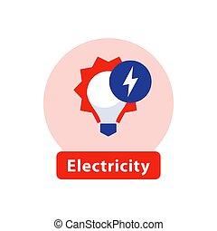 reparación, eficiente, luz, energía, alto, señal, vector, ...