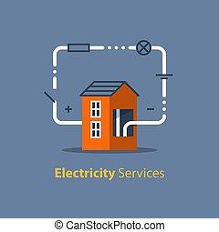 reparación, electricidad, casa, mantenimiento, circuito ...