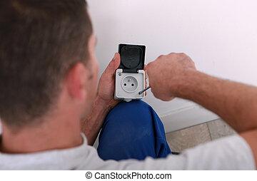 reparación, electricidad, electricista, enchufe
