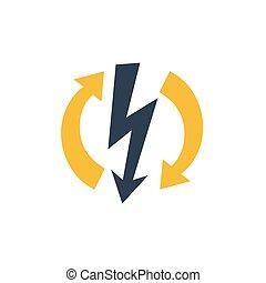 reparación, electricidad, flechas, señal, alto voltaje, ...