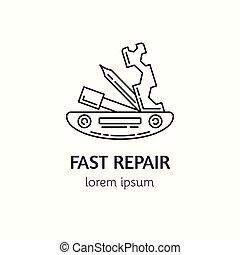reparación, estilo, bicicleta, lineal, moderno, logotype, ...