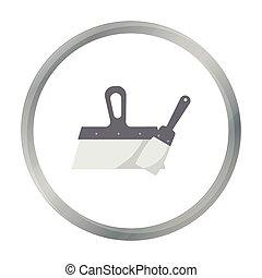 reparación, estilo, illustration., símbolo, aislado, fondo., vector, cuchillos, construya, masilla, blanco, icono, caricatura, acción