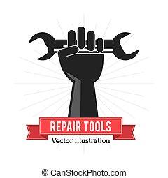 reparación, gráfico, herramienta, mano, vector, llave ...