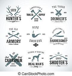 reparación, hombres, caza, vendimia, etiquetas, perro,...