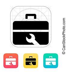 reparación, icon., caja de herramientas