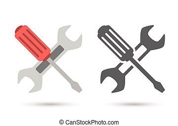 reparación, icon., llave inglesa, destornillador