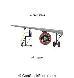reparación, inspección, mantenimiento, aircraft.
