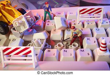 reparación, juguete, trabajadores, miniatura, ordenador...
