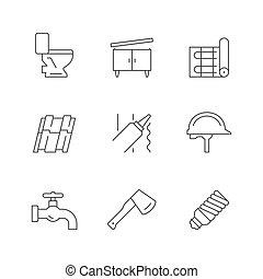 reparación, línea, iconos, conjunto, casa