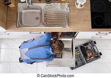reparación, lavaplatos, total, hombre
