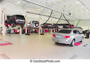 reparación, levantamiento, garaje, coche