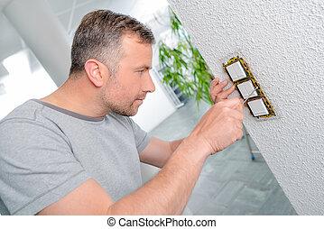 reparación, luz, interruptores