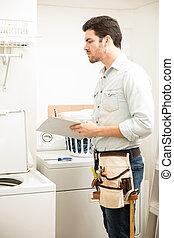 reparación, máquina, lavado, electricista