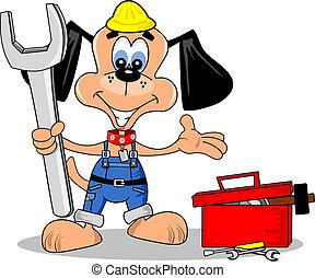 reparación, perro, caricatura, diy, hombre