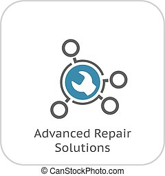 reparación, plano, soluciones, icon., avanzado, design.
