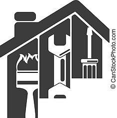 reparación, símbolo, hogar