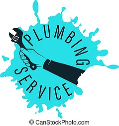 reparación, servicio, plomero, mano, símbolo, llave inglesa