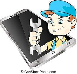 reparación, smartphones, maestro