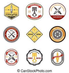 reparación, taller, emblemas, coloreado