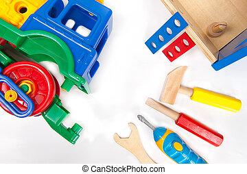 reparación, toolset, tren, juguete