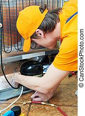 reparación, trabajo, aparato, refrigerador