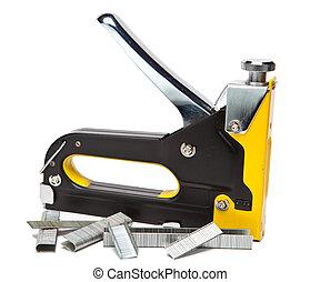 reparación, trabajo, grapadora, metal, casa