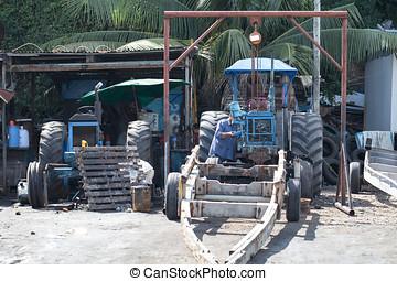 reparación, tractores