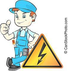 reparación, vector, electricista